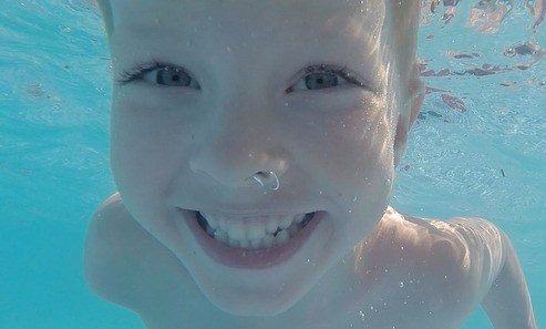 happy child underwater